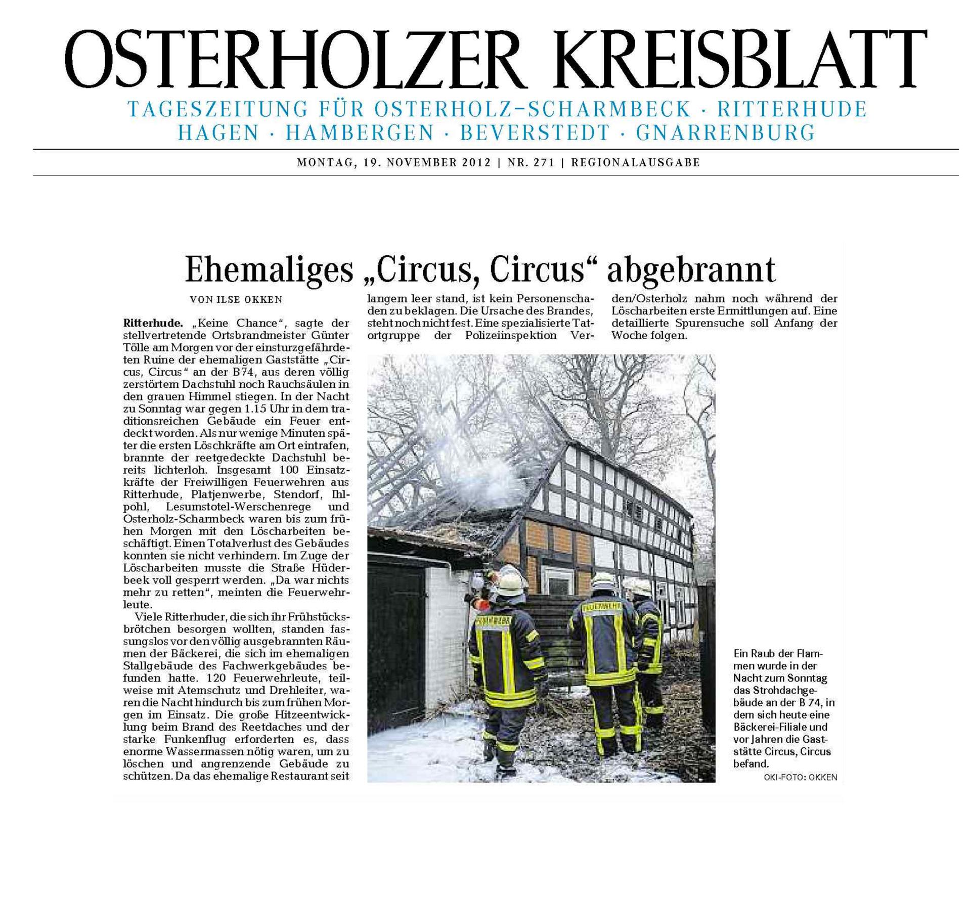 Osterholzer Kreisblatt Circus Circus Großbrand